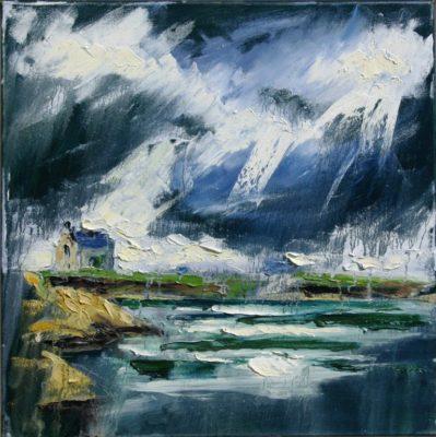 2015 Kilmore Quay, lightstorm, oil on canvas.