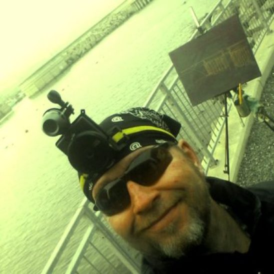 Rod Coyne wearing a headcam at Greystones Harbour.