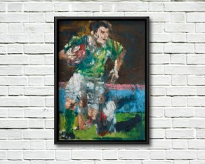 Brian O'Driscoll, Celestial Steps - framed canvas print on a rough white wall.