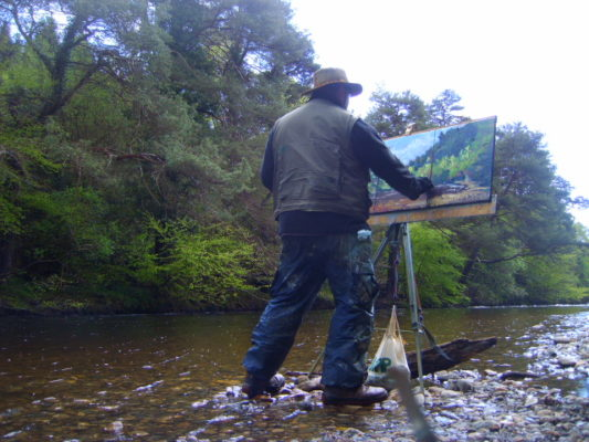 Irish Plein Air painting, Rod Coyne struggles to finish as the river rises below his boots!