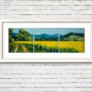 """Summer Field"" by Rod Coyne, oil on canvas, framed on white wall."