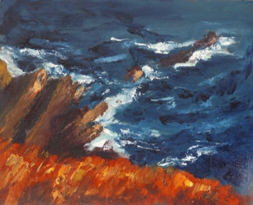 "Rod Coyne Shortlisted ""Cill Rialaig Blaze"" oil on canvas, 40x50cm."