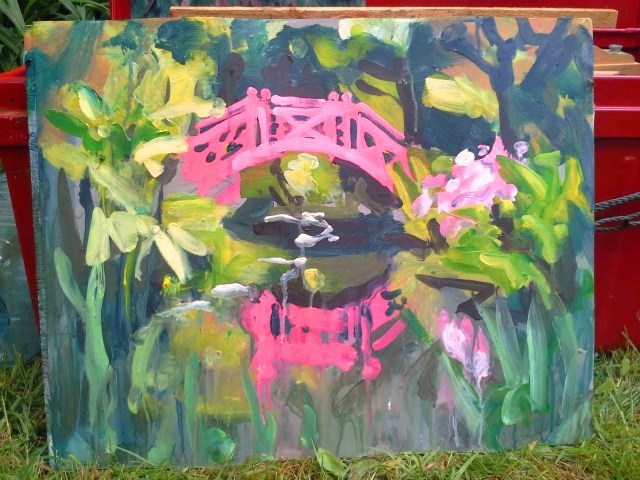 Photo depicting Japanese bridge painting demo by Rod Coyne at Knockanree Gardens.