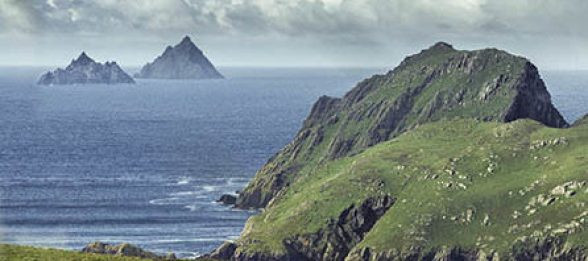 The Skelligs seen from the mainland.
