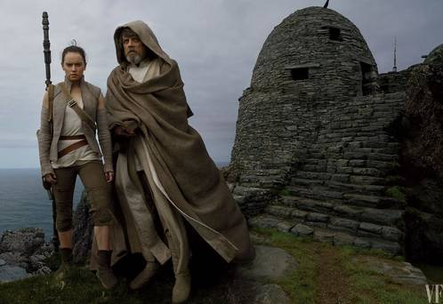 Movie Still: Rae and Luke perched atop of Skellig Michael.