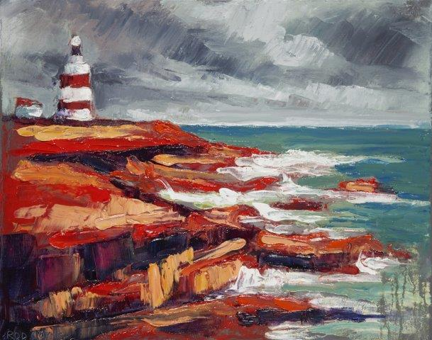 """Featured in SEEING RED, """"Hooked on Red"""" was painted at Hookhead Lighthouse."""
