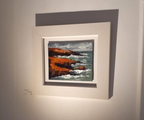 """""""Below the Hook"""" was the first to sell on the opening night. the painting is oil on canvas and 20x25cm."""