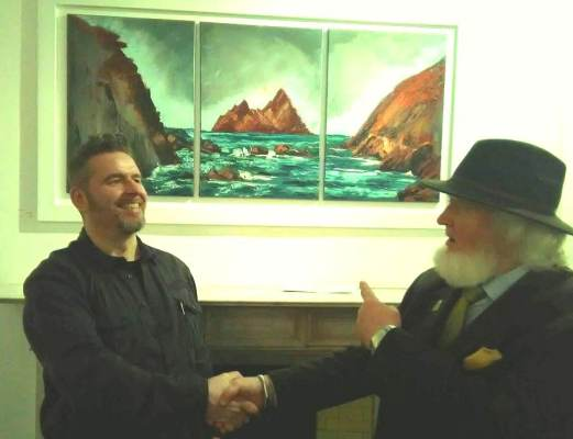 Rod Coyne and Proinsias O'Rathaille enjoying a laugh the exhibition launch at the Origin Gallery, Dublin.