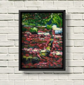 Rhododendron Broadwalk Kilmacurragh canvas print framed in black on a white brick wall.