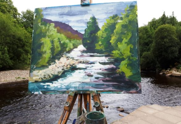Rod Coyne's painting demo depicts the river's light and movement at Meetings of the Waters.