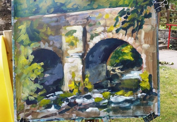 Rod Coyne's stone bridge painting demo at the Meeting of the Waters.