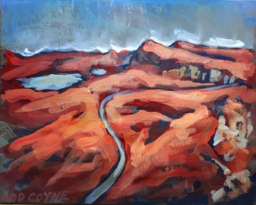 "Image of Rod Coyne's ""Red Road"", 20x25cm, acrylic on canvas."