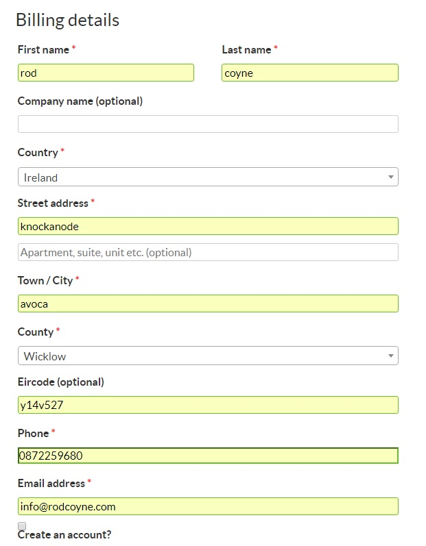 screen shot: billing details