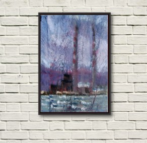 """""""Pigeon House, Dublin Bay"""" by Rod Coyne, 70x100cm. The painting is shown framed in black on a warm white wall."""