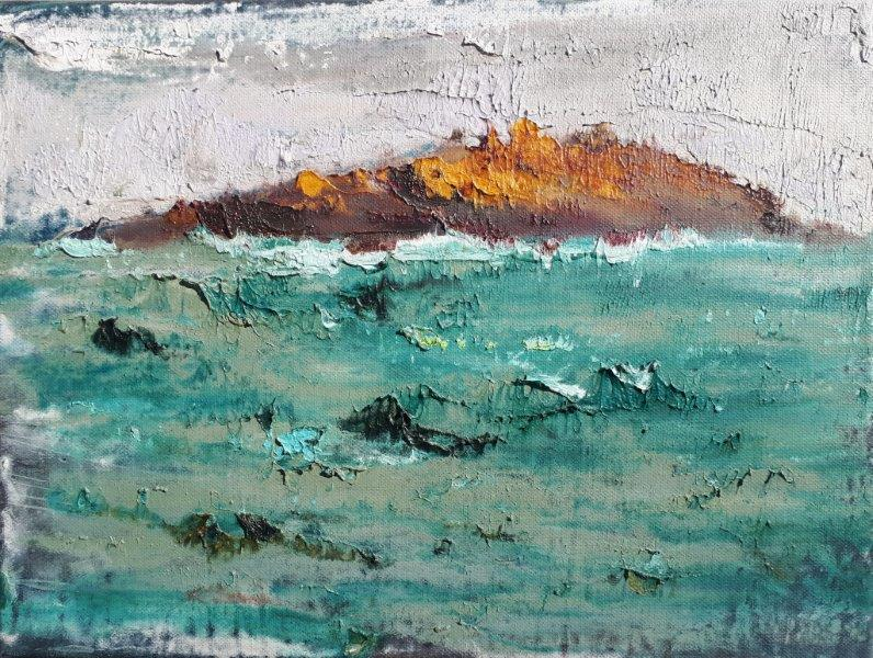 "Image of ""Scariff Island"" is an energetic painting straight out of Coyne's Atmospherics style."
