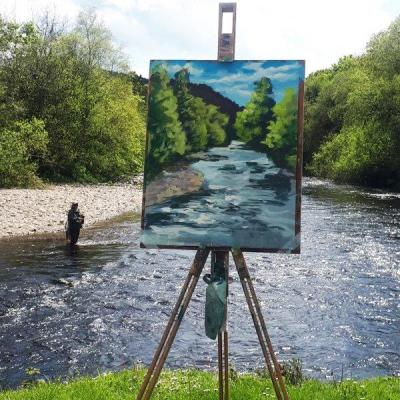 Photo of An angler wading into the Avoca River during Rod Coyne's painting demo back in August in 2019.