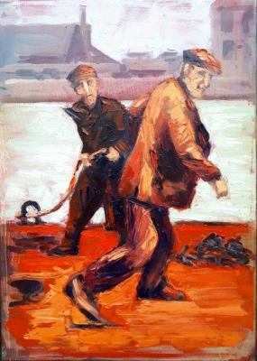 """In """"Hot Dockers"""" Rod Coyne interprets a vintage image depicting men at work through a palette of fiery reds, oranges and pinks."""