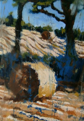 a harvest painting by artist rod coyne showing two bales with two trees in a field