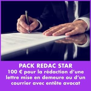 100 € pour la rédaction d'une lettre mise en demeure ou d'un courrier avec entête avocat