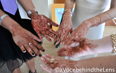 The bride and the other ladies in the bridal party all had henna either on their hands or on their legs for the ceremony. Henna is traditionally applied 1-3 days prior to the wedding. When you look closely at the bride's henna, you may be able to spot her husband-to-be's initials.