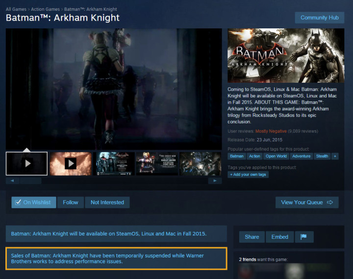 Batman: Arkham Asylum suspended on Steam