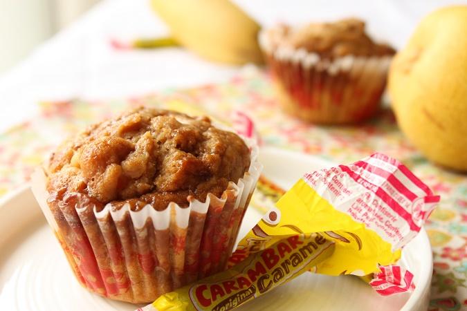Muffins poire, banane et carambar