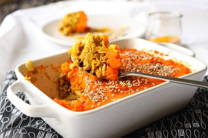 Gratin de viande purée de carotte