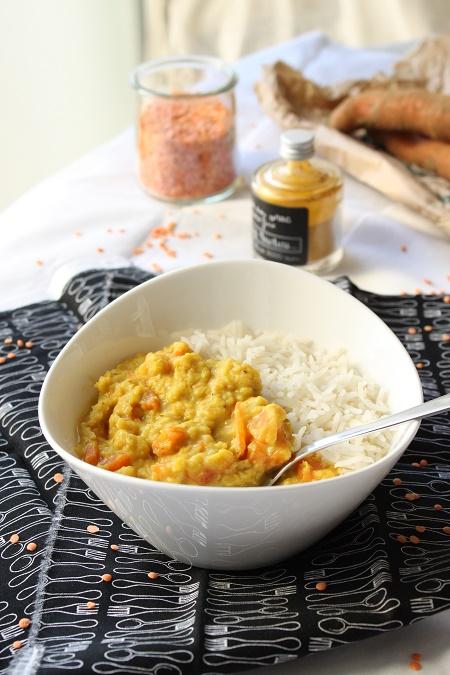 Curry de carottes et lentilles corail dahl indien