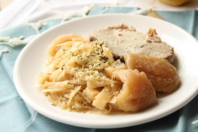 Roti de porc aux légumes chou celeri pomme