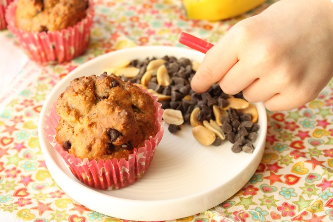Muffins moelleux à la banane beurre de cacahuète chocolat sans beurre sans oeuf