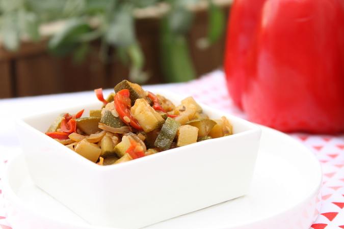Poêlée de courgettes poivron sauce worcester