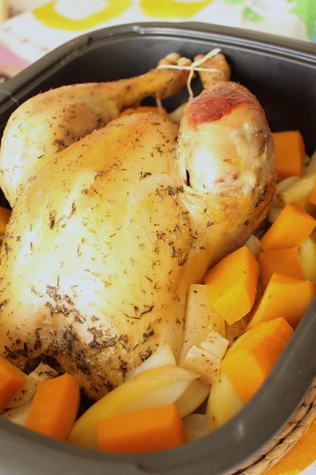 Poulet rôti thym navet courge butternut