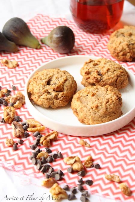 Cookies aux figues séchées, noix et pépites chocolat