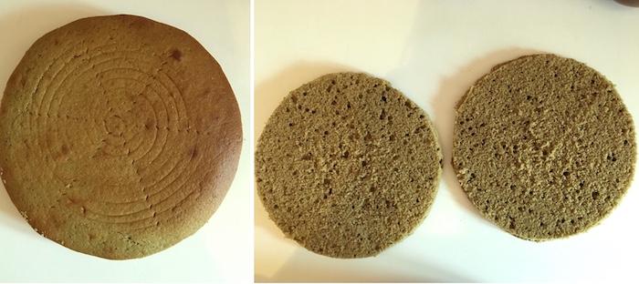 entremet à la framboise crémeux chocolat blanc biscuit madeleine thé matcha