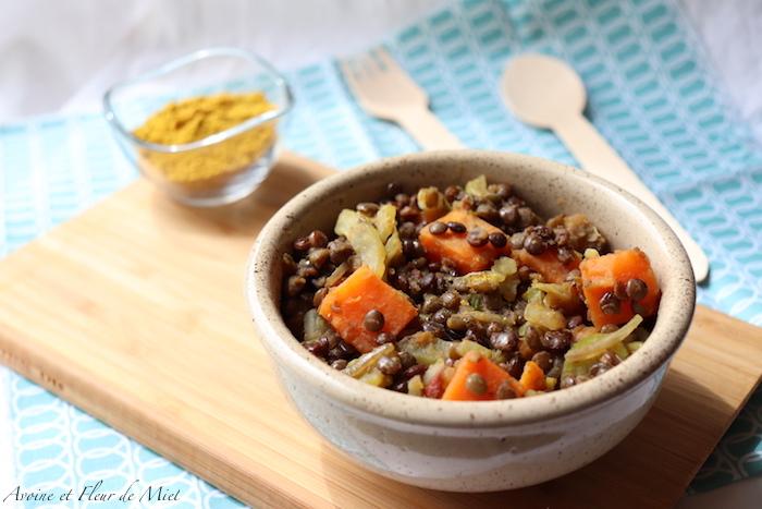 Curry de lentilles, patate douce et fenouil