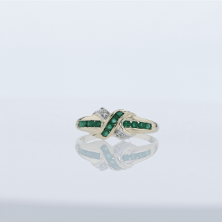 Diamond & Emerald X-Shape Ring