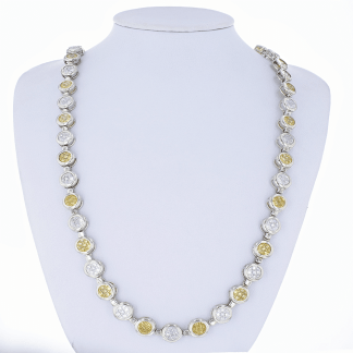 Sterling Yellow & Clear Stone Necklace