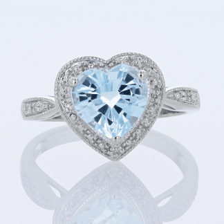 Blue Topaz Heart & Diamond Ring
