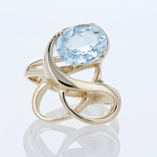 Blue Topaz Swirl Ring