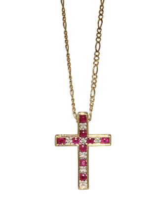 Reversible Sapphire and Ruby Cross