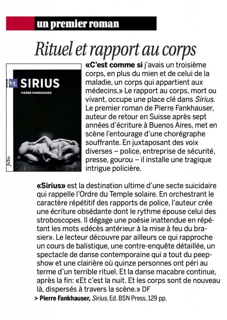 Sirius dans La Liberté du 09.08.14