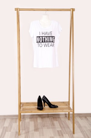 I have nothing to wear slogan t-shirt hanging on otherwise empty rail