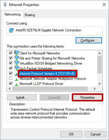 PC Ethernet Properties IPv4 Properties