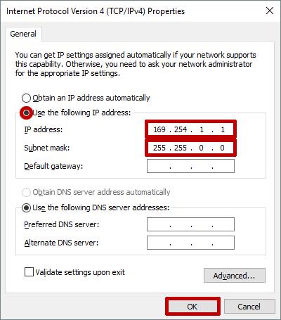 PC Set Static IP 169 254 Range