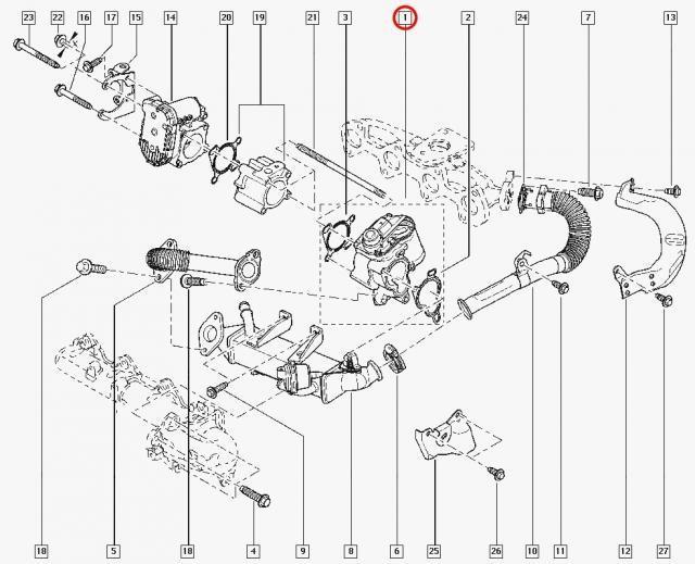 Клапан EGR Renault Trafic-II Renault Megan-II 2.0 DCI