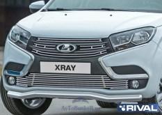 Решетка радиатора d10 + комплект крепежа, RIVAL, Lada X-Ray 2015-, 4 части