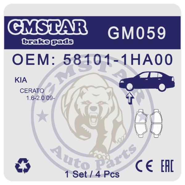 Колодки торм. диск. перед. для а/м Kia Cerato 1.6-2.0 09- GM059