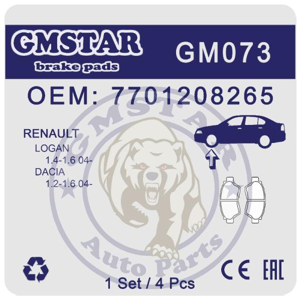 Колодки торм. диск. перед. для а/м Renault Logan 1.4-1.6 04-, Dacia 1.2-1.6 04- GM073