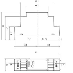 Габаритный чертеж 24W/12-24V/DIN