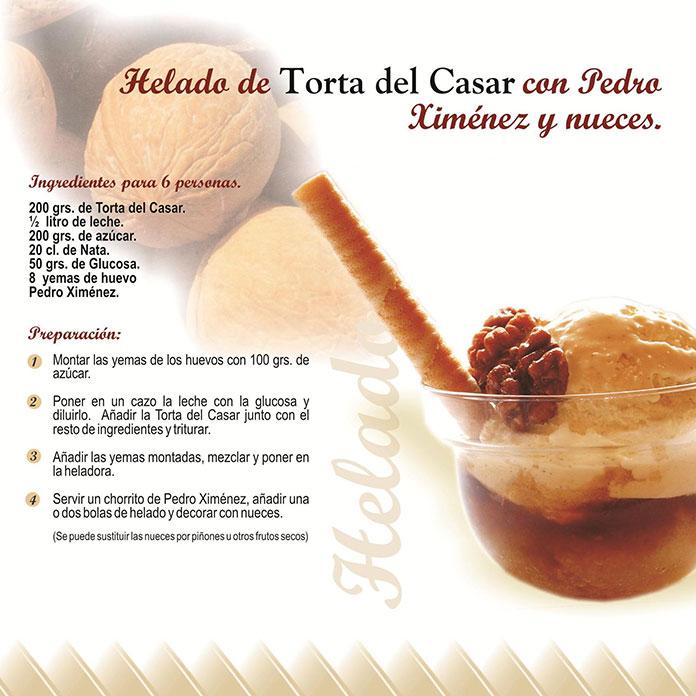 Helado de Torta del Casar con Pedro Ximenez y nueces